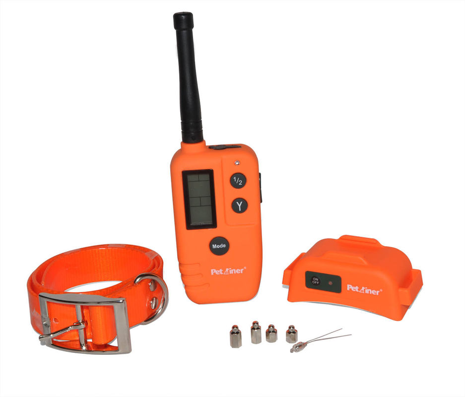 Orange 500m Remote Pet Training Collar Rechargeable With Big LCD Displays